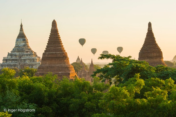 Balloons at sunrise over Bagan, Myanmar.