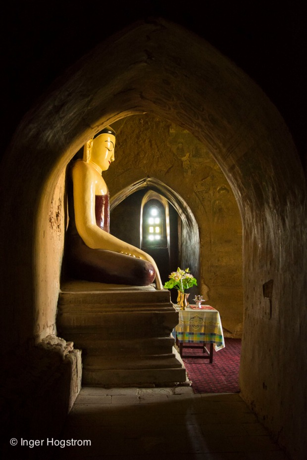 Buddha in a 12th century temple, Bagan, Myanmar.